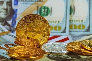 Concept bitcoin coin on us dollars