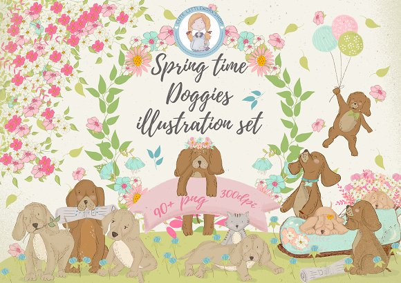 Spring time Doggies illustration set