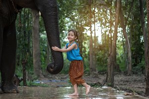 Asian girls playing with elephants i
