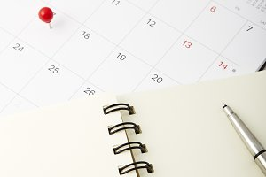 Tax day Red push pin on calendar