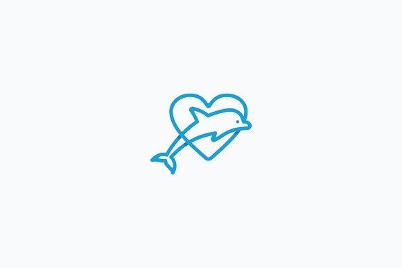 Dolphin Love Logo Template
