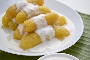 Delicious banana in syrup for Thai sweet and dessert food concept