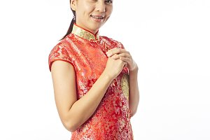Happy Chinese New Year Portrait of Asian Chinese girl blessing