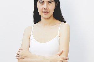 Asian woman face beauty long black hair sport wear