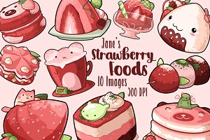 Kawaii Strawberry Foods Clipart