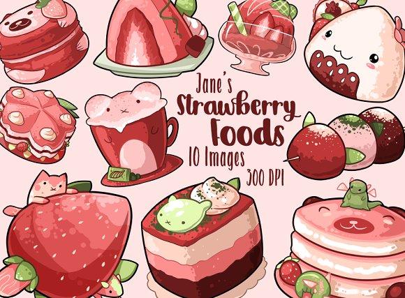 Kawaii Strawberry Foods Clipart