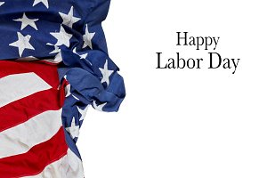 Happy Labor Day. USA flag. American holiday on white background