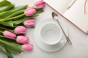 Empty white cup of coffee and a bunch of pink tulips on the pastel white table background, top view, flat lay