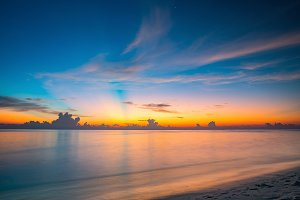 Sunset over ocean on Maldives