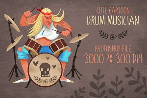 Cute cartoon Drum musician character