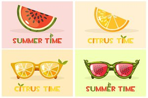 Citrus orange and Watermelon glasses. Vector Set Hello Summer time,