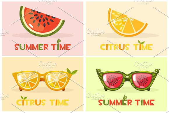 Citrus Orange And Watermelon Glasses Vector Set Hello Summer Time