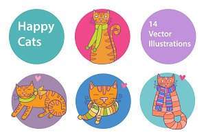 Happy Cats lovely vector set