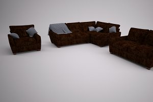 Leather Sofa Set with cushions
