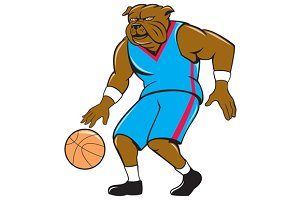 Bulldog Basketball Player Dribble Ca