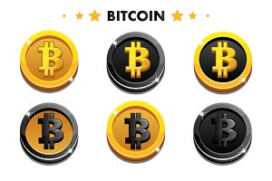 Cartoon Gold and black Bitcoin icon. Digital or Virtual currencies coin and electronic cash