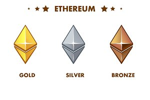 Isolated Gold, silver and bronze ethereum icon. Digital or Virtual currencies and electronic cash