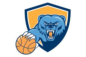 Grizzly Bear Angry Head Basketball S