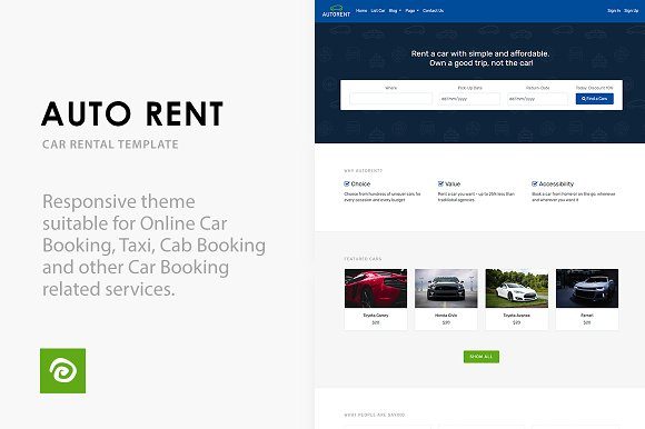 Auto Rent Car Rental Template