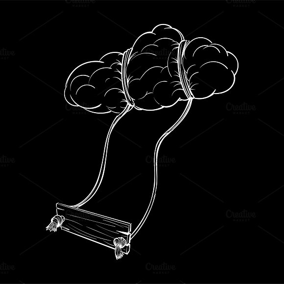 Illustration Of A Swing By Clouds
