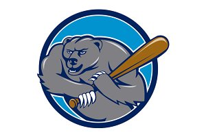 Grizzly Bear Baseball Player Batting