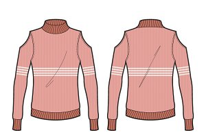 Women Cutout Jumper Clothing Vector