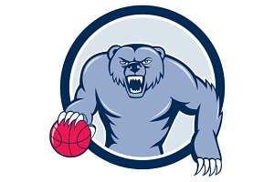 Grizzly Bear Angry Dribbling Basketb