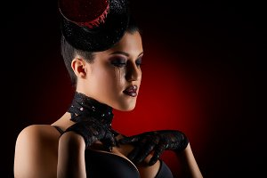 beautiful girl in cabaret style outfit