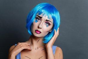 beautiful girl with pop art makeup