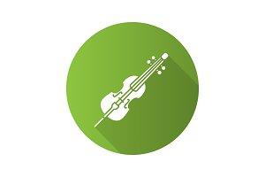 Cello flat design long shadow glyph icon