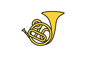 French horn color icon