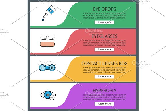 Ophthalmology Web Banner Templates Set