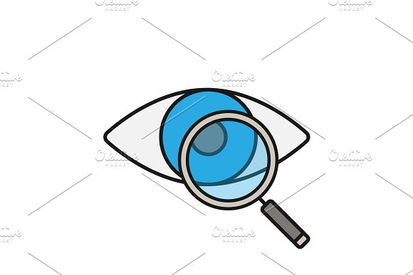Eye With Magnifying Glass Color Icon