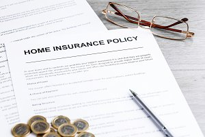 Home Insurance Policy. Notes, Model of House and Insurance Policy