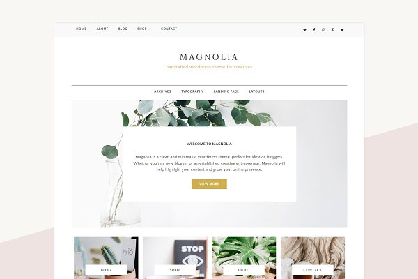 WordPress Blog Themes: ElanCreativeCo - Minimalist WordPres Theme - Magnolia