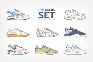 Modern sneakers, sport footwear