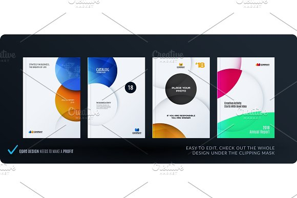 Template Creative Abstract Minimal Design Of Brochure Set Annual Report Horizontal Cover