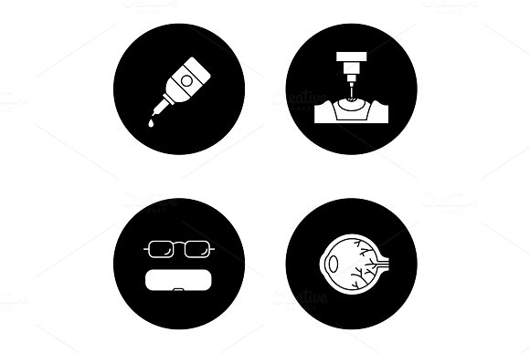 Ophtalmology Glyph Icons Set