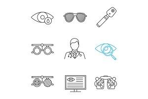 Ophtalmology linear icons set