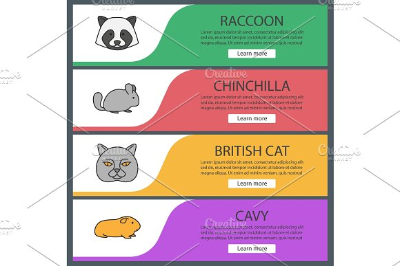 Pets Web Banner Templates Set