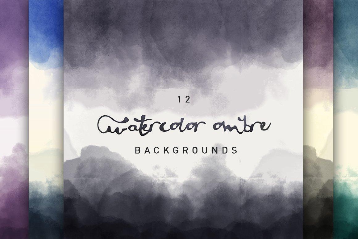 12 Watercolor Ombre Backgrounds Textures Creative Market