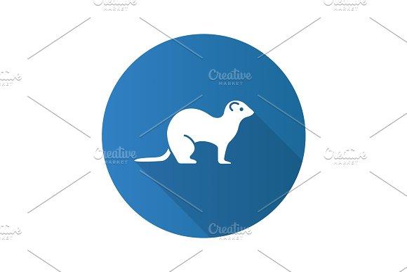 Ferret Flat Design Long Shadow Glyph Icon