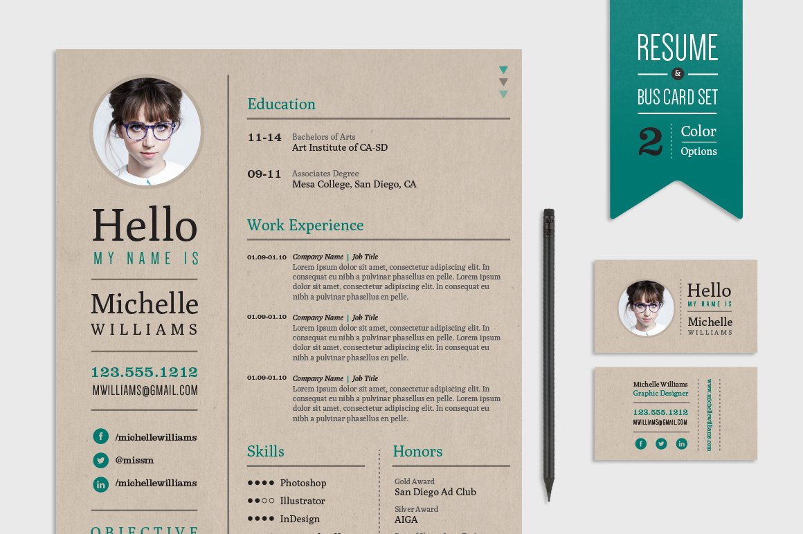 Creative Resume & Business Card Set ~ Resume Templates ~ Creative Market