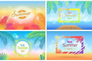 Hello Hot Summer Days Posters Set on Blurred