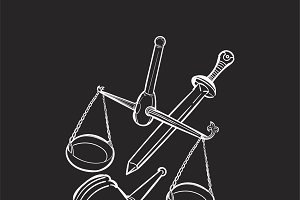 illustration of justice concept