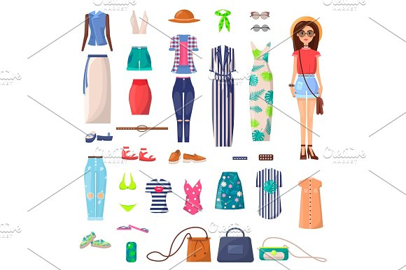 Modern Young Girl With Big Summer Outfits Set