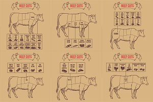 Vintage butcher cuts of beef scheme