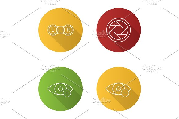 Ophtalmology Flat Linear Long Shadow Icons Set