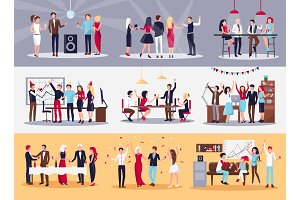 Corporate Parties Illustrations Set