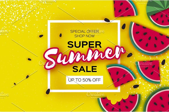 Watermelon Super Summer Sale Banner In Paper Cut Style Origami Juicy Ripe Watermelon Slices Healthy Food On Yellow Square Frame For Text Summertime
